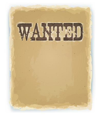 far: Illustration of a vintage old wanted placard poster, with blank space for your advertisement text, on old scratched torn paper Illustration