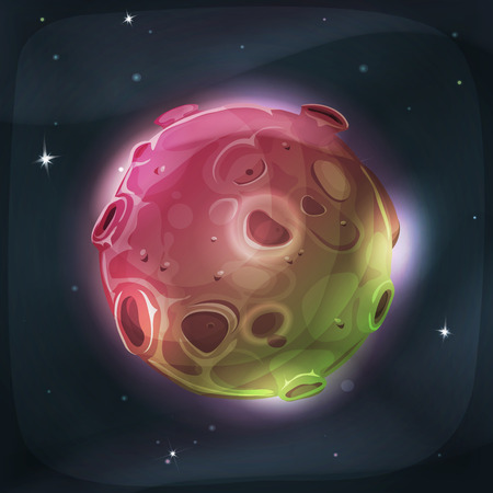 luminary: Illustration of a cartoon funny and fairy alien moon or planet globe, with craters, holes, volcano areas and light halo for space and sci-fi game ui Illustration