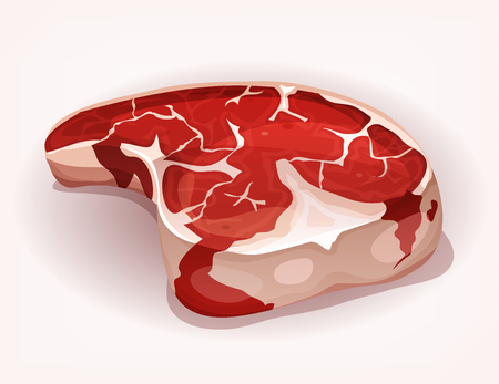 appetizing: Illustration of a cartoon appetizing t-bone steak, famous piece of beef meat for bbq