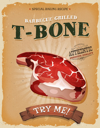 Illustration of a design vintage and grunge textured poster, with butcher t-bone beef steak icon, for fast food snack