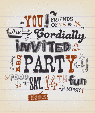 neighbours: Illustration of a fun party invitation poster, with crafted hand lettering text, on a grungy school paper background for bbq, holidays, neighbours and friends events