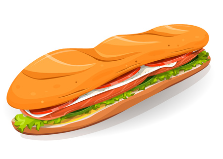 takeout: Illustration of an appetizing cartoon fast food sandwich icon, with salmon fish slices, fresh cheese, salad leaves and classic french loaf, for takeout restaurant Illustration