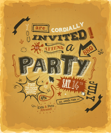 neighbours: Illustration of a funny party invitation poster, with crafted hand lettering text, on a grunge paper background for bbq, holidays, neighbours and happy friends events