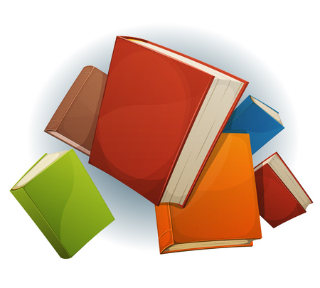 bookshop: Illustration of a set of cartoon stack of books flying, with red, green, blue, brown and yellow covers, isolated on white background, for bookstore or library blog showcase