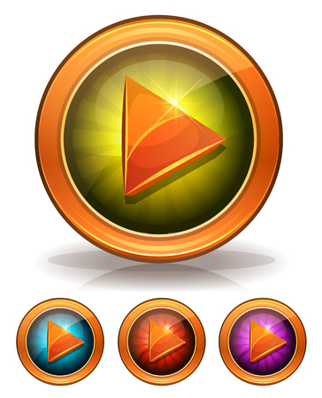 arrow circles: Illustration of a set gold and glossy play icon or button, for video player or game ui Illustration