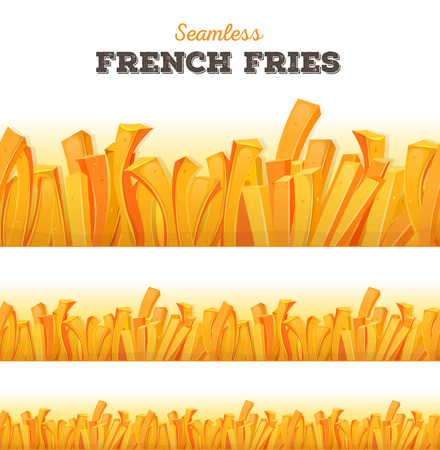 mouth watering: Illustration of a seamless cartoon appetizing set of french fried potatoes background, for snack restaurant menu and takeaway food