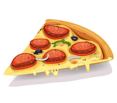 Illustration of an appetizing cartoon piece of pizza icon, with pepperoni sausage slices, onions, olives, melting cheese and bell pepper for fastfood and takeout restaurants