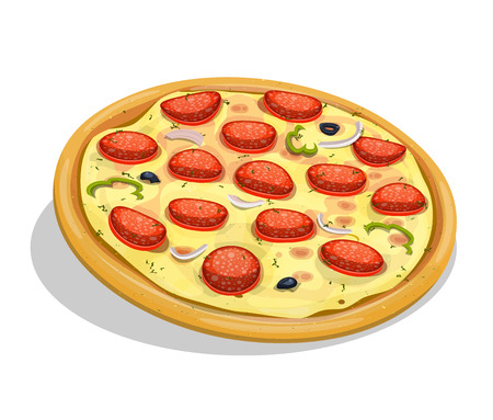 takeout: Illustration of an appetizing cartoon entire pepperoni pizza, with sausage slices, onions, olives, melting cheese and bell pepper for fastfood and takeout restaurants