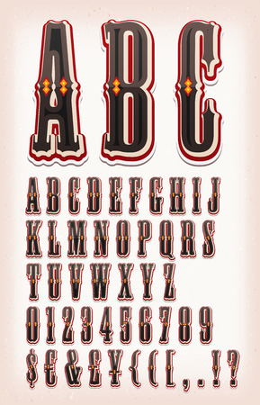 far: Illustration of a set of retro circus abc typefont, with letters, numbers, currencies and special characters on vintage and grunge background