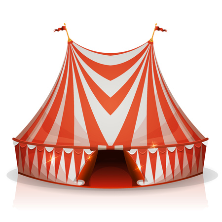 big top: Illustration of a cartoon big top circus tent, with red and white stripes, for funfair and carnival holidays, isolated on white