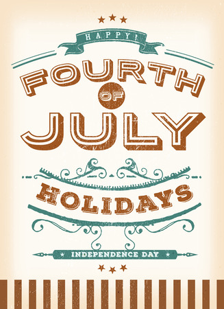 fourth birthday: Illustration of a vintage retro poster of happy fourth of july holidays postcard, for celebration of independence day