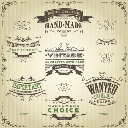 far: Illustration of a set of hand drawn western like sketched banners, floral patterns, ribbons, and far west design elements on vintage paper background