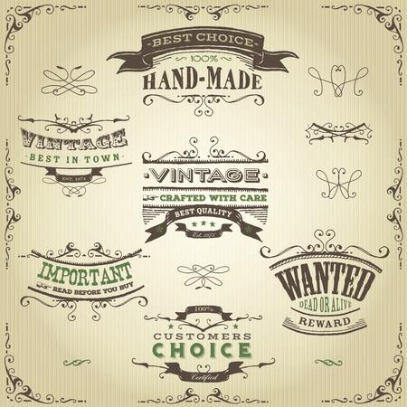 Illustrazione di un insieme di disegnati a mano striscioni occidentali come abbozzato, motivi floreali, nastri, ed elementi di design ovest lontano su sfondo di carta vintage