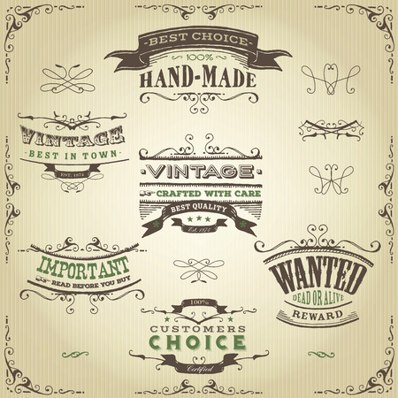 old frame: Illustration of a set of hand drawn western like sketched banners, floral patterns, ribbons, and far west design elements on vintage paper background