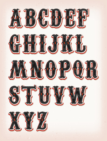 Illustration of a set of retro circus abc typefont, on vintage and grunge background