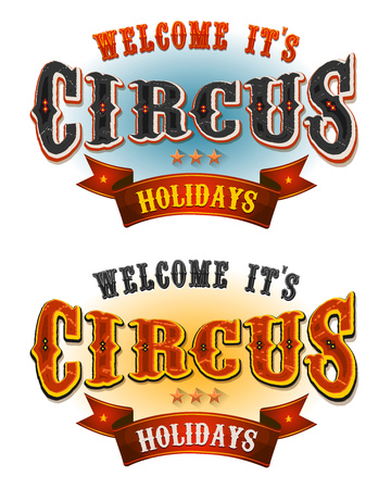 Illustration of a set of retro circus welcome banners, for carnival and festive cirque holidays and events Illustration