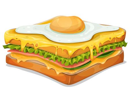 食欲をそそるフランス サンドイッチ、ハムのスライス、パン、サラダの葉、ファーストフード専門のイラストはチーズや卵の目玉焼き