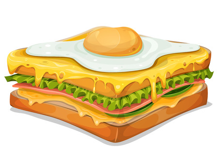 Illustration of an appetizing french sandwich, fast food specialty with ham slice, bread, salad leaves, melted cheese and fried egg Ilustração