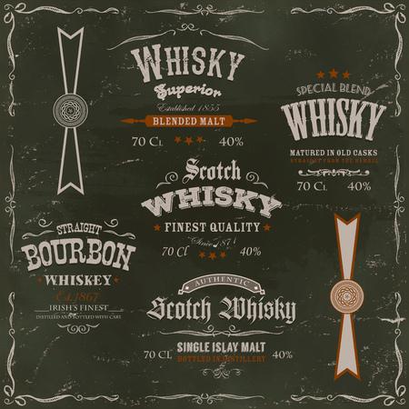 whisky bottle: Illustration of a vintage design set of whisky drinks and beverage labels, with textures, celtic patterns and label for bottle, on chalkboard background