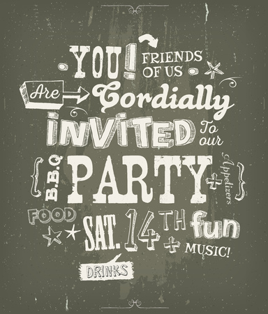neighbours: Illustration of a fun party invitation poster, with crafted hand lettering text, on a blackboard background for bbq, holidays, neighbours and friends events