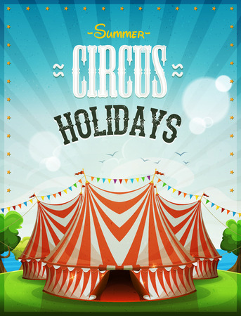 Illustration of a summer circus holidays poster, with marquee, big top, grunge texture and ocean and sky landscape background Illustration