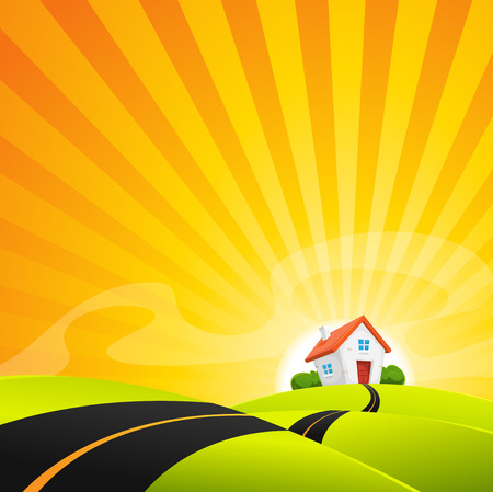 Illustration einer Cartoon-Landschaft Straße in den Sonnenaufgang, mit kleinem Haus