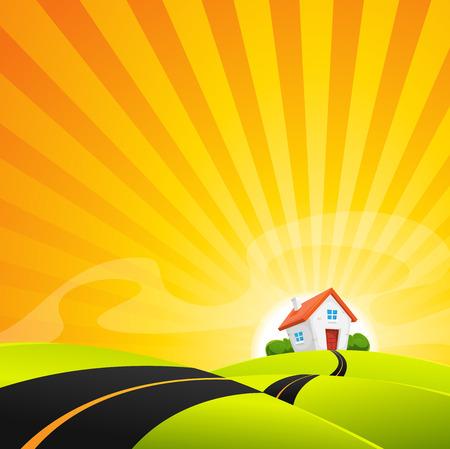 Illustrazione di una strada cartone animato paesaggio nel sorgere del sole, con la piccola casa