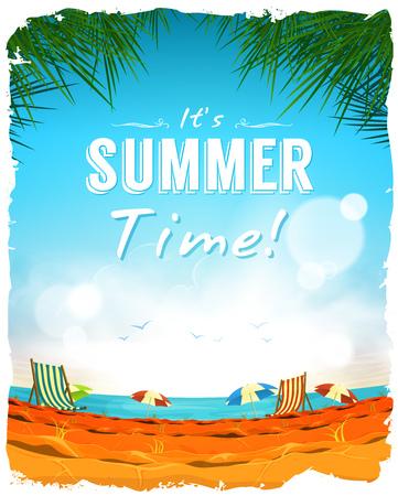 Illustration d'une conception d'été plage tropicale fond, avec du sable chaud, des chaises et des parasols à l'horizon de l'océan, pour des vacances amusantes et les jours fériés