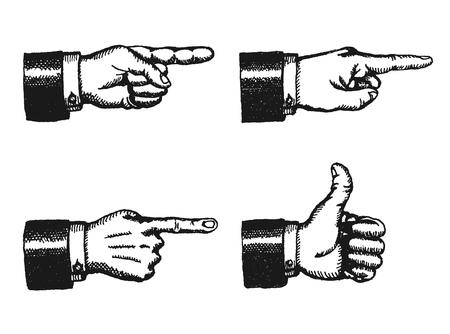 Ilustración de un conjunto de boceto del hombre de negocios manos negras con el dedo índice apuntando, y dando un pulgar hacia arriba, aislado en blanco
