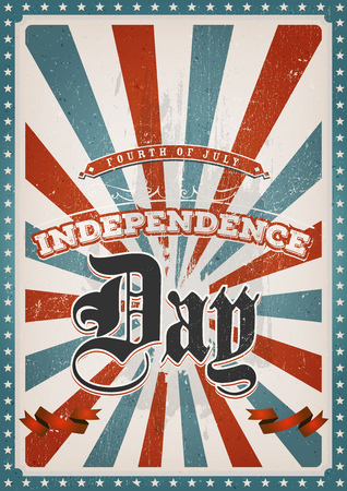american vintage: Illustration of an american red and blue fourth of july background, for independence day and american holidays, with scratched and grunge texture