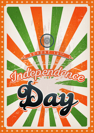 commemoration: Illustration of a vintage india country independence day poster, with orange and green sunbeams, for fifteen of august national holiadays