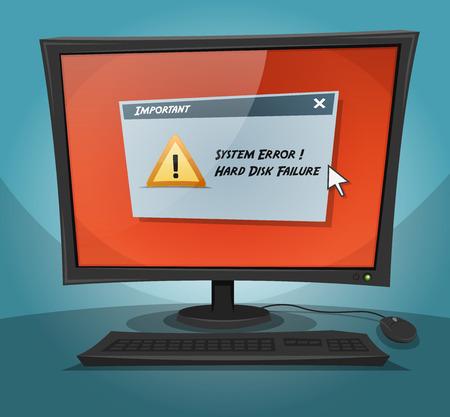 Illustration d'un écran d'ordinateur de bande dessinée affichant une panne du système, avec un message de défaillance du disque dur affichée