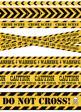 caution: Illustration of a set of seamless grunge police and do not cross lines, danger sign, crime and warning tapes Illustration