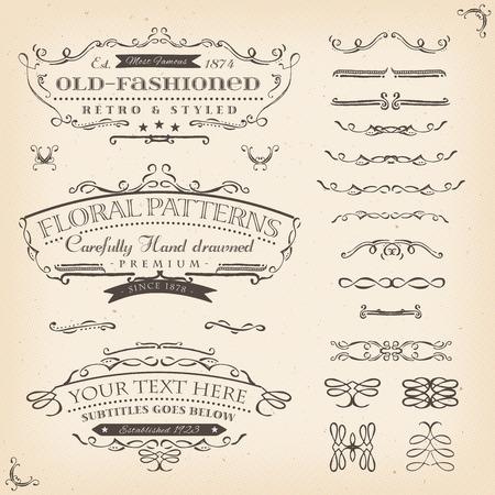 Illustration of a set of retro labels, frames, sketched banners, floral patterns and graphic design elements on vintage old paper background