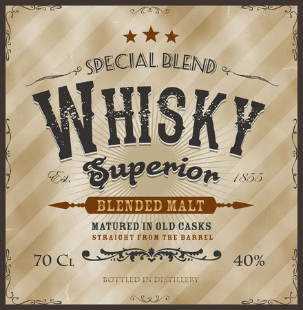 Illustration of a vintage design whisky label, with western fonts, specific product mentions, textures, celtic patterns, on background Illustration