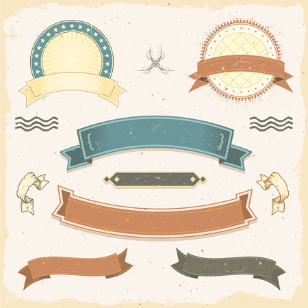 Illustration of a collection of design grunge vintage banners, with washed-out labels, signs, ribbons and seal stamper