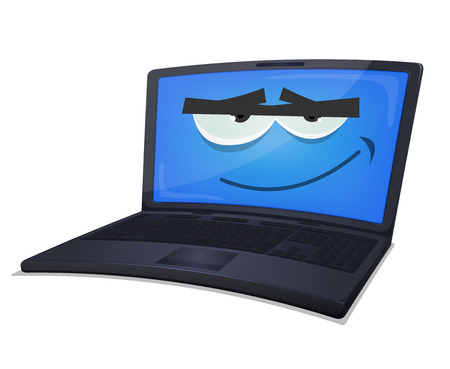 eye pad: Illustration of a cartoon laptop computer smiling, with blue screen for technology retail background
