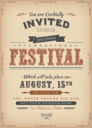 arts: Illustration of a vintage festival invitation poster, on retro background Illustration