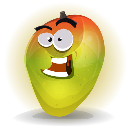 fruit stem: Illustration of a cartoon funny tropical mango character, happy and smiling Illustration