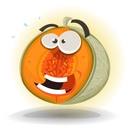 Illustration of a cartoon funny healthy summer melon character, juicy, happy and smiling