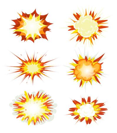 brandweer cartoon: Illustratie van een reeks van comic book explosie, ontploffing en andere cartoon brandbom, bang en exploderende symbolen