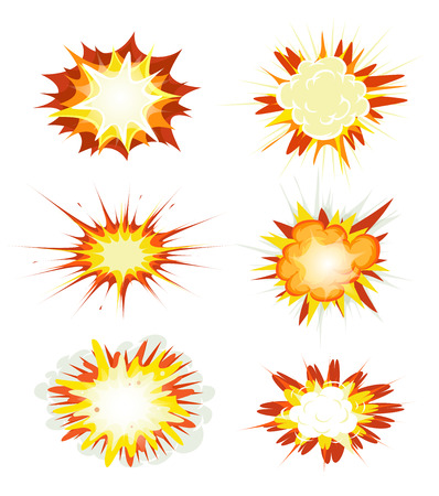 brandweer cartoon: Illustration of a set of comic book explosion, blast and other cartoon fire bomb, bang and exploding symbols