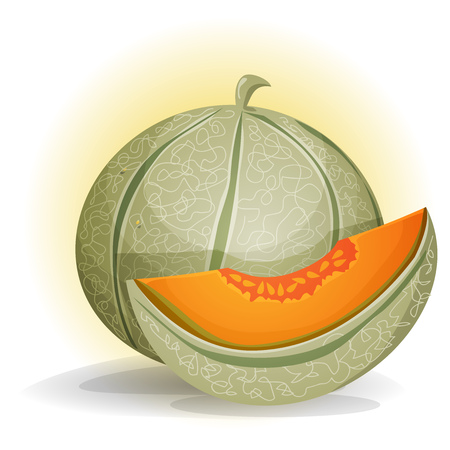 sugary: Illustration of an appetizing melon character, with a separated quarter Illustration