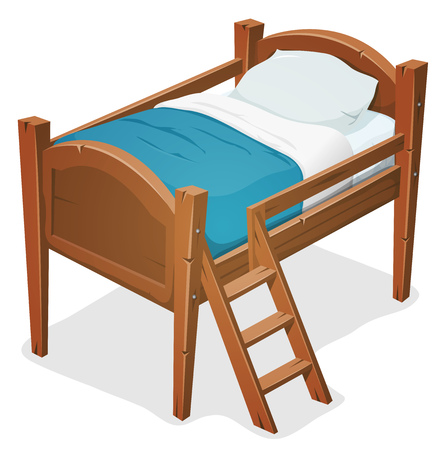 Illustration of a cartoon wooden children bed for boys and girls with pillows, blue blanket and ladder