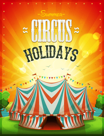 big top: Illustration of a summer circus holidays poster, with marquee, red and blue big top, grunge texture and sunbeams on ocean and sky landscape background