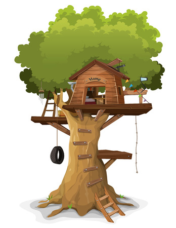 Illustration of a cartoon kid's tree house, constructed in a big oak with home objects and accessories inside, isolated on white background