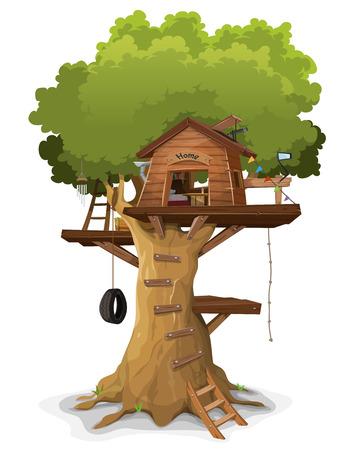 Ilustración de la casa del árbol de un niño de dibujos animados, construida en un gran roble con objetos caseros y accesorios en el interior, aislado en fondo blanco