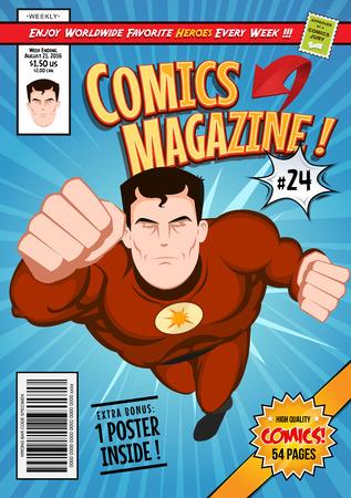 Illustration d'une bande dessinée modifiable modèle de couverture du livre de bande dessinée, avec un super caractère volant de héros, les titres et les sous-titres pour personnaliser et mauvais code à barres et de l'étiquette Banque d'images - 64602027