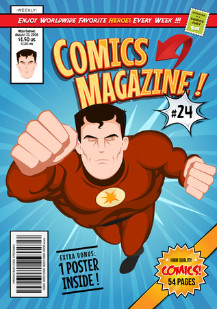 magazine page: Illustration of a cartoon editable comic book cover template, with super hero character flying, titles and subtitles to customize, and wrong bar code and label