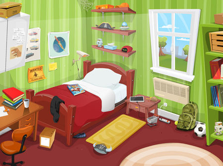 Illustration of a cartoon kid or teenager bedroom with boy or girl lifestyle elements, toys, bed, books, desk, bookshelf, and accessories in mess Illusztráció